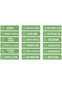 Planche étiquette produits d'entretien maison écologiques