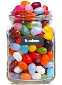 Étiquette bonbons pot et bocal en verre