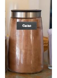 Etiquette cacao pot et bocal en verre